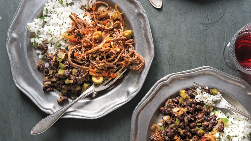 Slow Cooker Ropa Vieja with Classic Brazilian Black Beans & Rice (c) Alanna Hale
